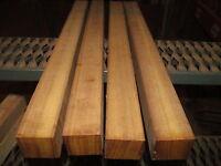 Four (4) Long Kiln Dried Exotic Iroko Turning Blanks Wood Lumber 2 X 2 X 36