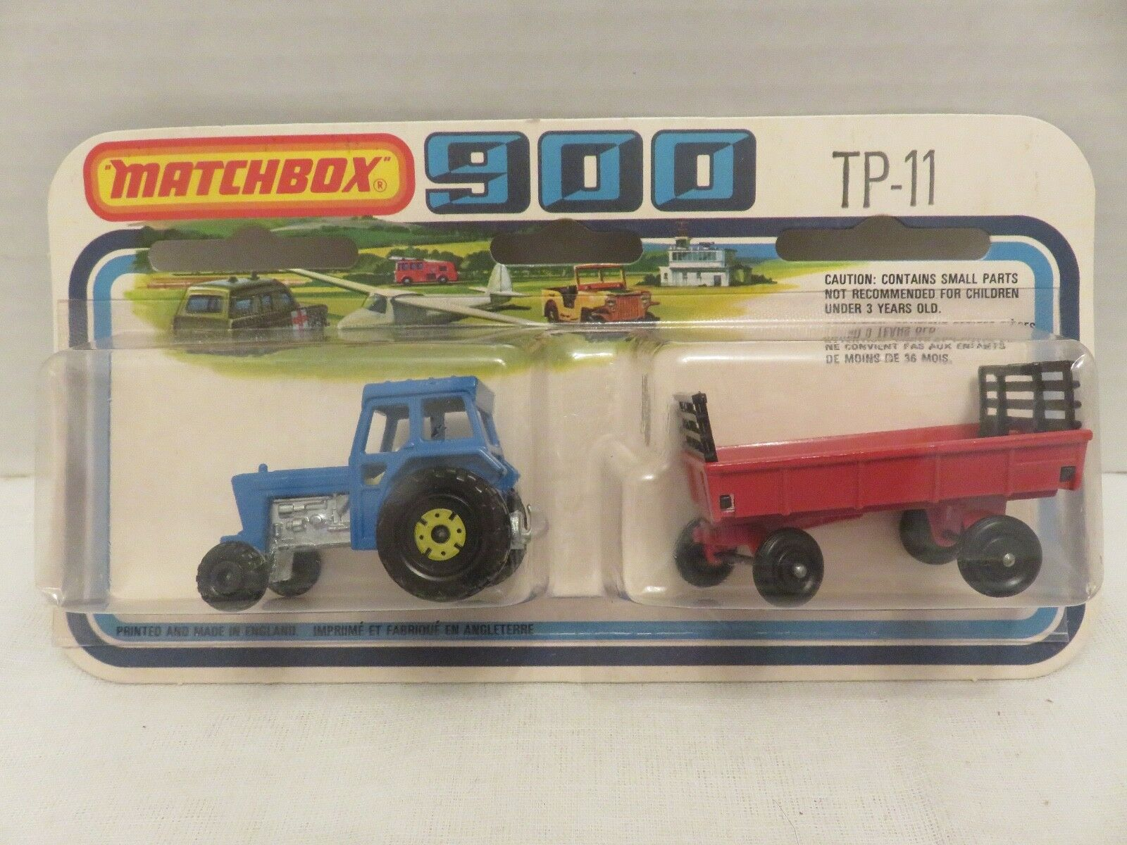 1978 Matchbox SuperFast 900 Ford Tractor blueE Hay Trailer Trailer Trailer RED TP-11 Die-Cast 135f01