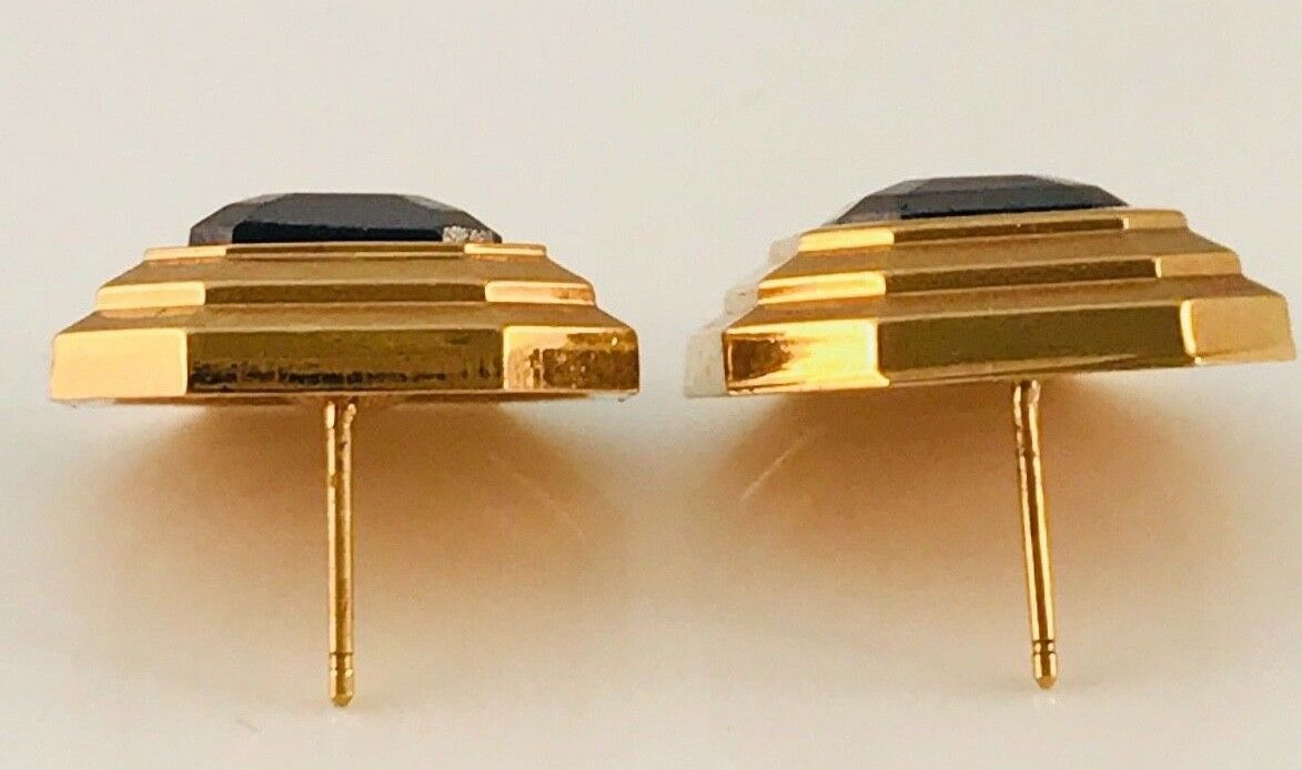Vintage Lanvin Gold Tone and hematite Square earr… - image 6