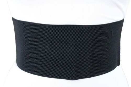 Hot Women Black Elastic Wide Corset Belt High Waist Tie Animal Print Elastic S M