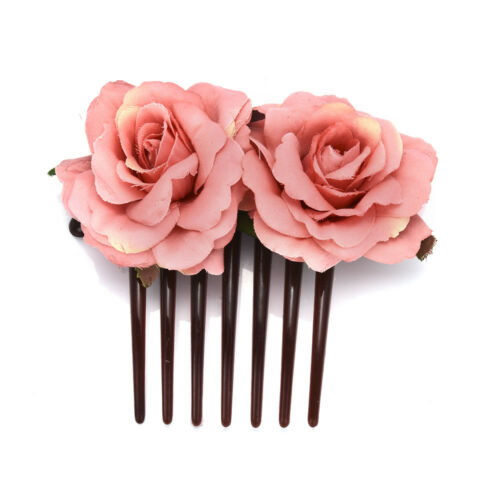Ladies Double Silk Rose Flower Hair Comb Clip Wedding Bridal Party Beach Decor T