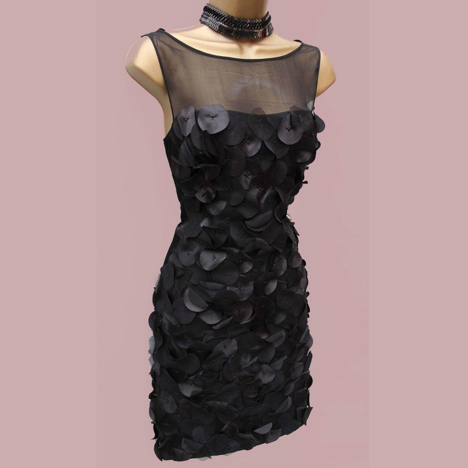 Exquisite KAREN MILLEN  schwarz Silk 3D Flowers Cocktail Wiggle Pencil Dress SZ 10