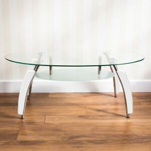 Miraculous Details About Elena Coffee Table Oval White Living Room Glass Top Frosted Chrome Modern Home Interior And Landscaping Ferensignezvosmurscom