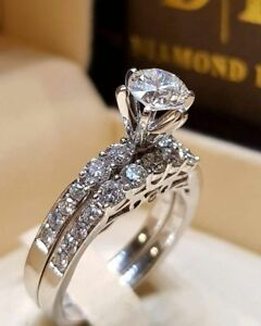 2Pcs Women Wedding Engagement Rings Silver Plated Crystal Ring Jewelry Size 6-10