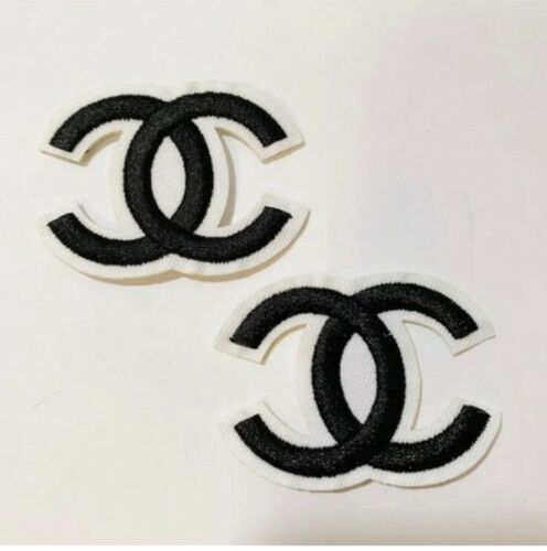 Two Black CC Double C  Free Shipping iron on patch