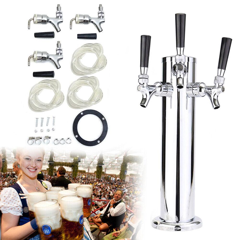 3 Taps Stainless Steel Draft Beer Tower Triple faucet F/Kegerator Beer Dispenser 2