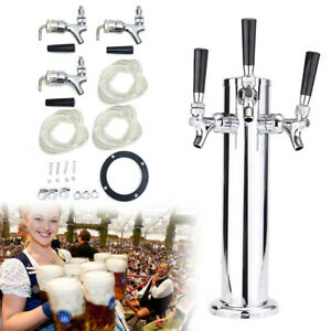 "Bar Pub Kegerator Equipment Triple Tap Stainless Steel Draft Beer Tower 4/"" Dia"