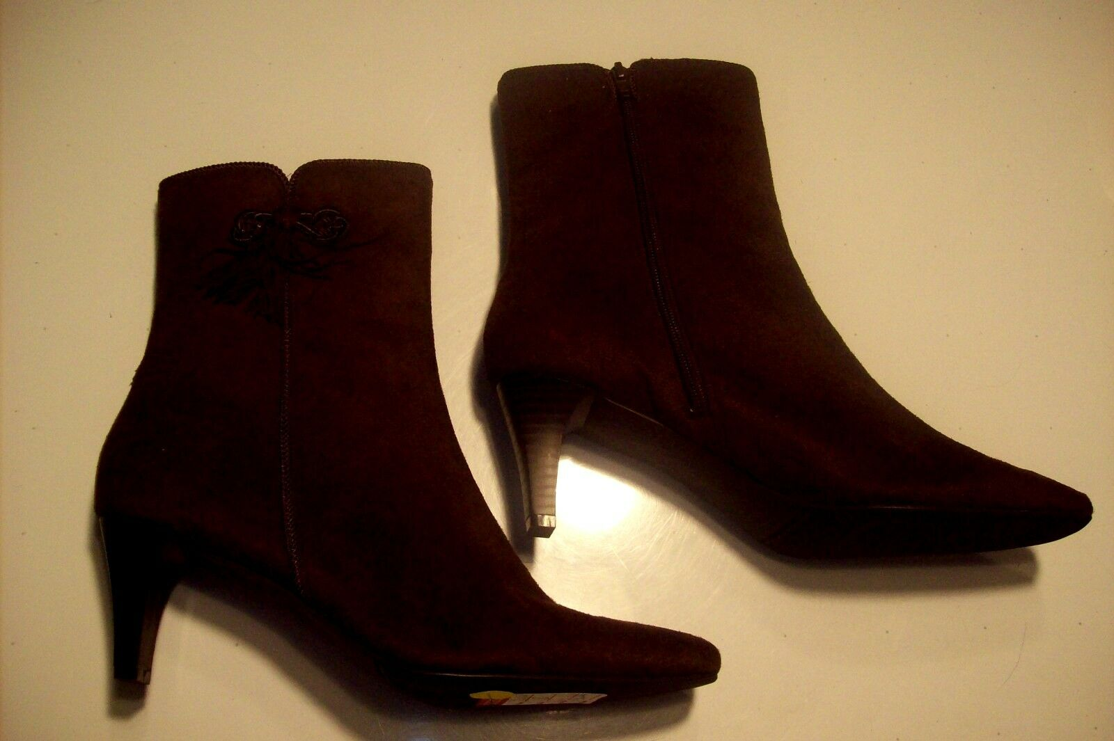 NEW Studio Works Gable Brown Faux Suede Ankle Boots shoes Size 10 @ cLOSeT