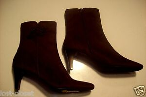 NEW-Studio-Works-Gable-Brown-Faux-Suede-Ankle-Boots-Shoes-Size-10-cLOSeT