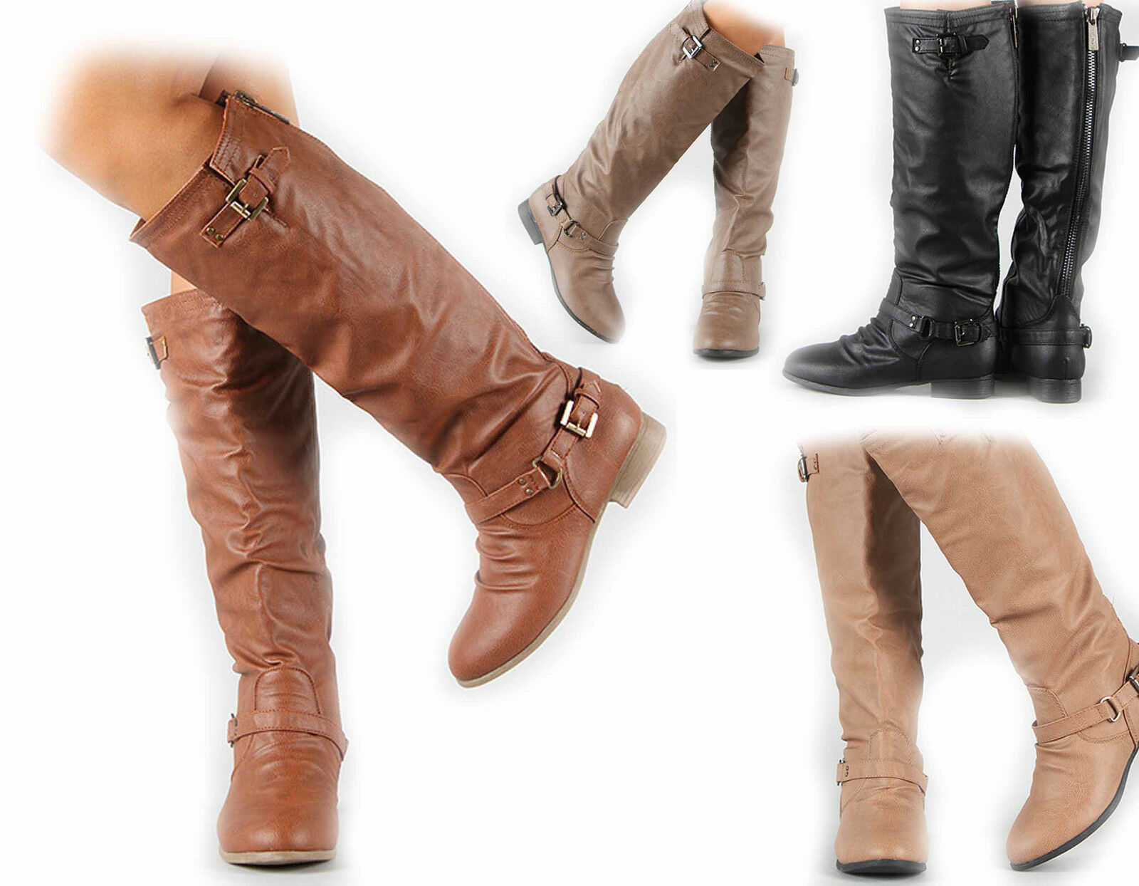 NEW  Women's Zipper Military Low Riding Flat Heel  Buckle Riding Low Knee High Boot  Shoes 273be5