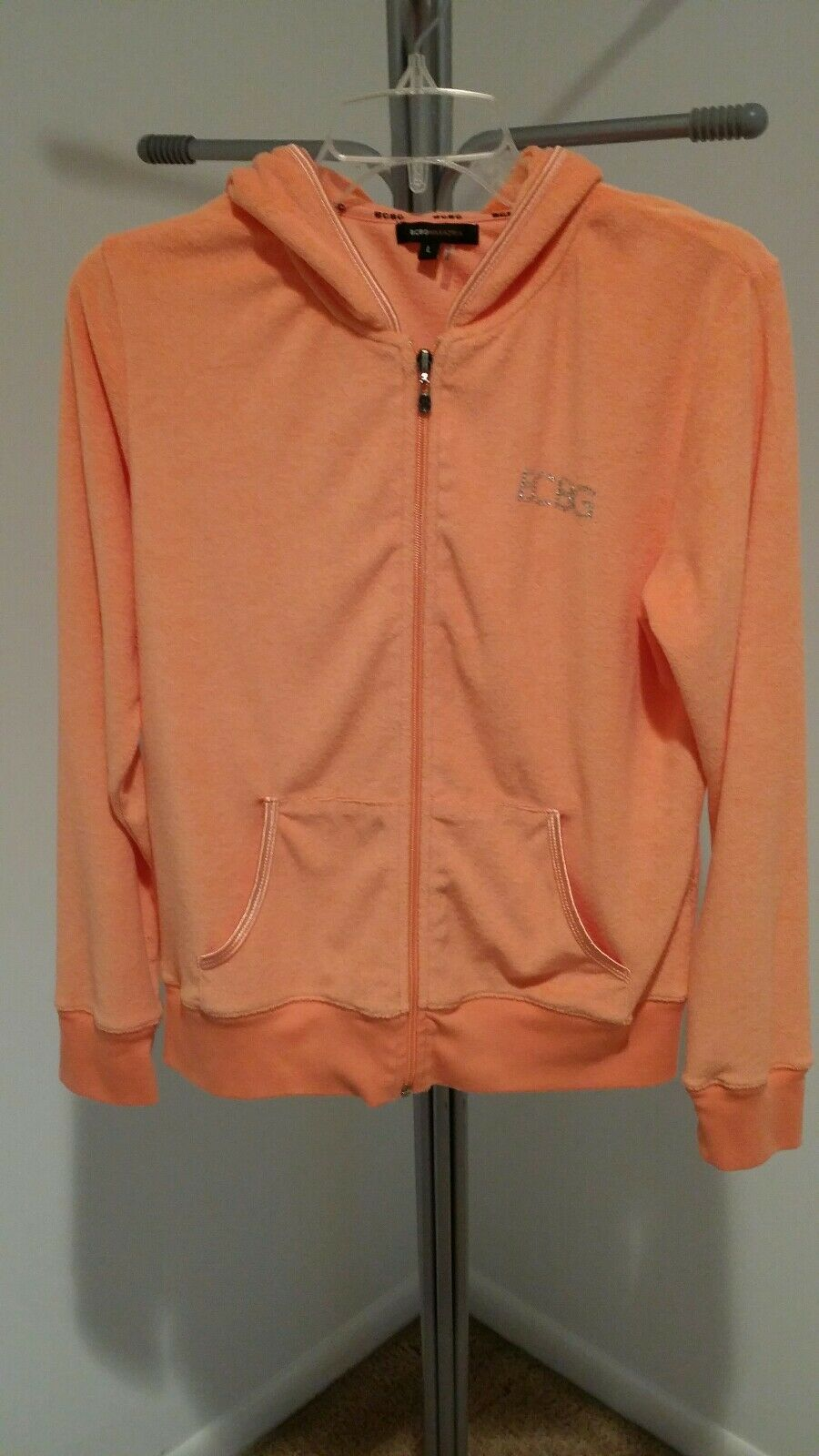 BCBG MaxAzria orange Terry Cloth with Rhinestone BCBG Hoodie,  Women's Large
