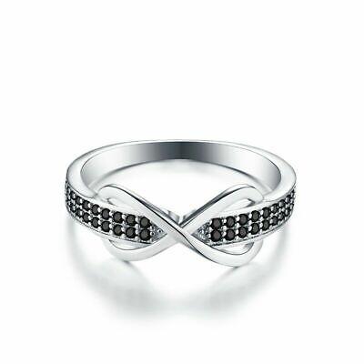 Damen Ring 925er Sterling Silber Black Spinell Zirkonia Aaa 18 K Weißgold Verg