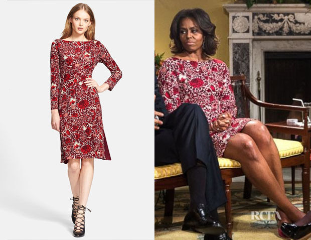 Tory Burch Dress M Floral Red Ria Dress seen in Glee and on Michelle Obama 6 8