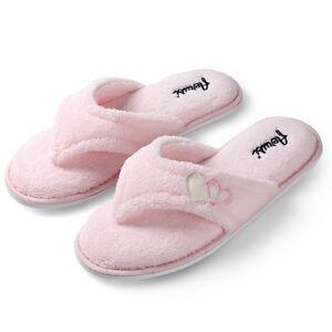 db52306c5f0df Aerusi Women Pink Soft Plush Slippers Fluffy Thong Flip Flop Splash ...
