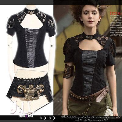 steampunk goth Pensieve secret lock floral lace sleeve blouse w/ choker SP164 B