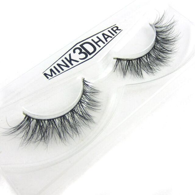 f5f7fcffc8d Hot LASGOOS 3D 100% Real Mink False eyelashes Cross Winged Eye Lashes 1 Pair