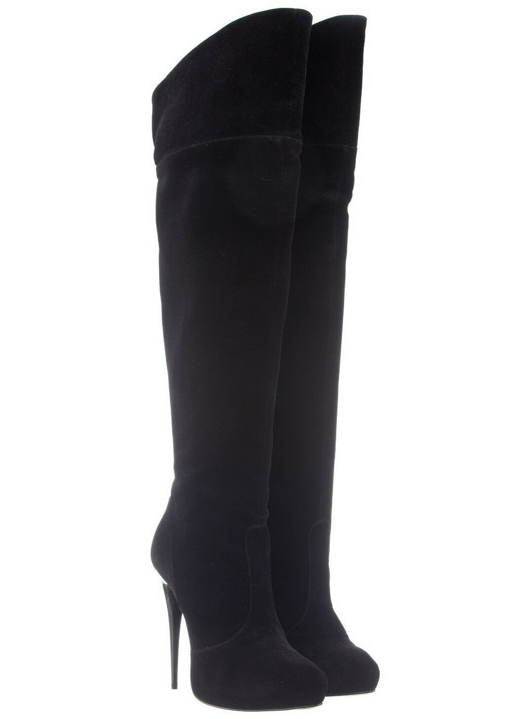 MORI PLATFORM OVER KNEE HEELS BOOTS STIEFEL STIVALI LEATHER PEARLS BLACK black 43