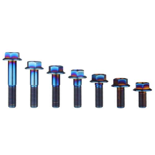 RockBros M10 Titanium Ti Hex Head Cap Bolts Flange Bolt 1.5mm Pitch Blue 1pcs
