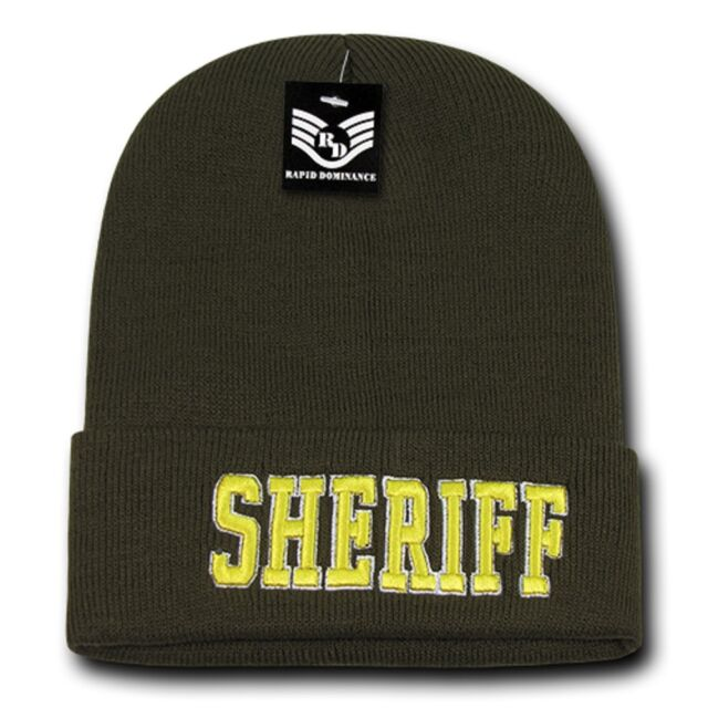 f6a95a71a4b Olive Green Sheriff Cop Embroidered Beanie Long Police Winter Knit Ski Cap  Hat