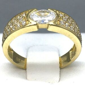 STUNNING-9CT-YELLOW-GOLD-034-CUBIC-ZIRCON-034-ETERNITY-RING-SIZE-034-M-034-104A