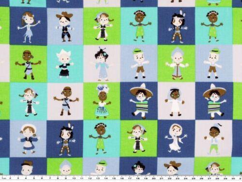 places multiculturelle 3 couleurs 140cm de large enfants enfants app Tissu de coton