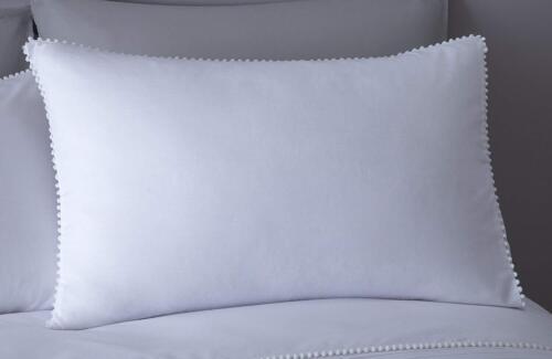 Serene Pom Pom Trim Easy Care Duvet Cover Bedding Set 5 Colours Available