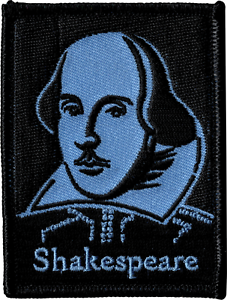 43020 William Shakespeare Portrait Blue /& Black Embroidered Sew Iron On Patch