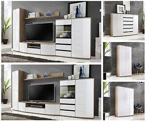 Wall Unit Modular Living Room Ontario High Gloss Pvc Led
