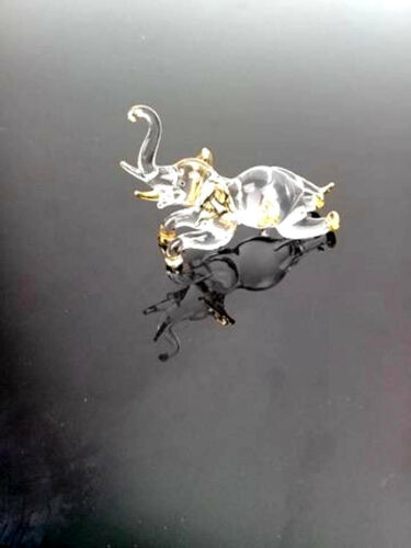 Elephant Art Hand Blown Clear Glass Crystal Gift Figurine Tiny Animal Collection