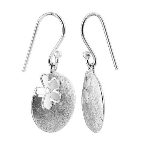 Argent Sterling 925 Rayures Finition disque avec Dangle Earrings
