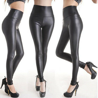 Slim-Fit Womens Fashion Leggings Matt Look High Waist Stretch Faux Leather Pants