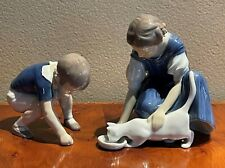 vintage Copenhagen Danish porcelain gift MINT 6 14 Bing and Grondahl figurine #1745 Girl with cat drinking milk Only One Drop