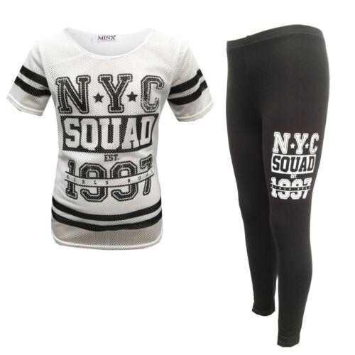 GIRLS KIDS NYC SQUAD BLACK WHITE NEW YORK TOP LEGGING SET 7 8 9 10 11 12 13 YEAR