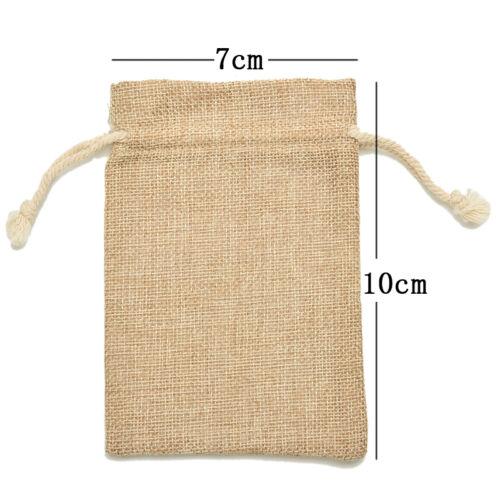 Natural Burlap Linen Jute Vintage Wedding Drawstring Gift Favor Sack Bags Bes CN