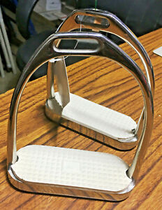 "New English Offset Stirrup Irons Stainless Steel Rubber Pad 4 1/4"" Horse Tack"