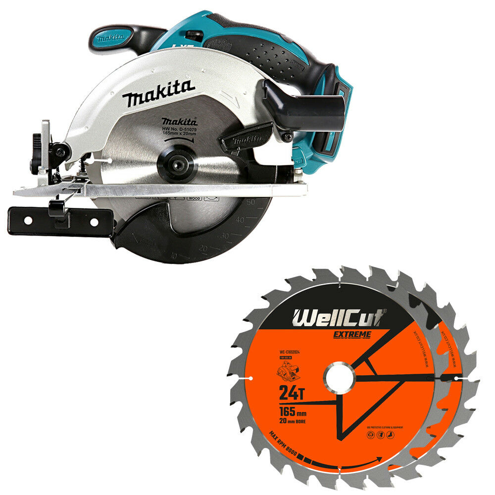 Makita DSS611Z 18V li-ion LXT Circular Saw + 1.5mm 2 Extra 24 Teeth Wood Blades