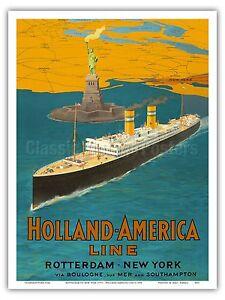 1920 Paris to New York Classic TransAtlantic Ocean Liner Travel Poster 20x30