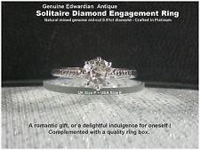 Diamond Engagement Ring Platinum Solitaire Diamond .91ct UK P Antique Edwardian