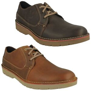 Detalles de Para Hombre Clarks Cuero Con Cordones Casual Cojín Suave Zapatillas Zapatos Talla Vargo Llano ver título original