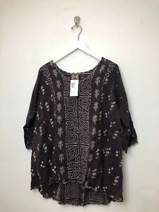 Womens-Johnny-Was-Ridden-Blouse-Shirt-Top-Sz-Small-Brown-Embroidered-3-4-Sleeve