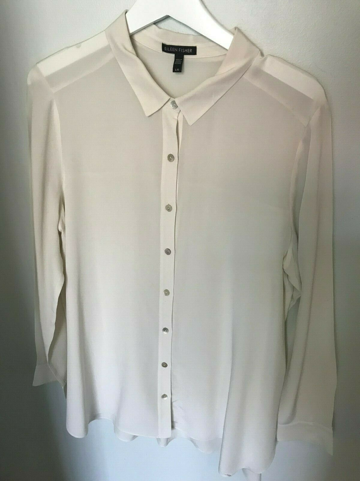 Eileen Fisher Ivory Silk Button Blouse - Größe L