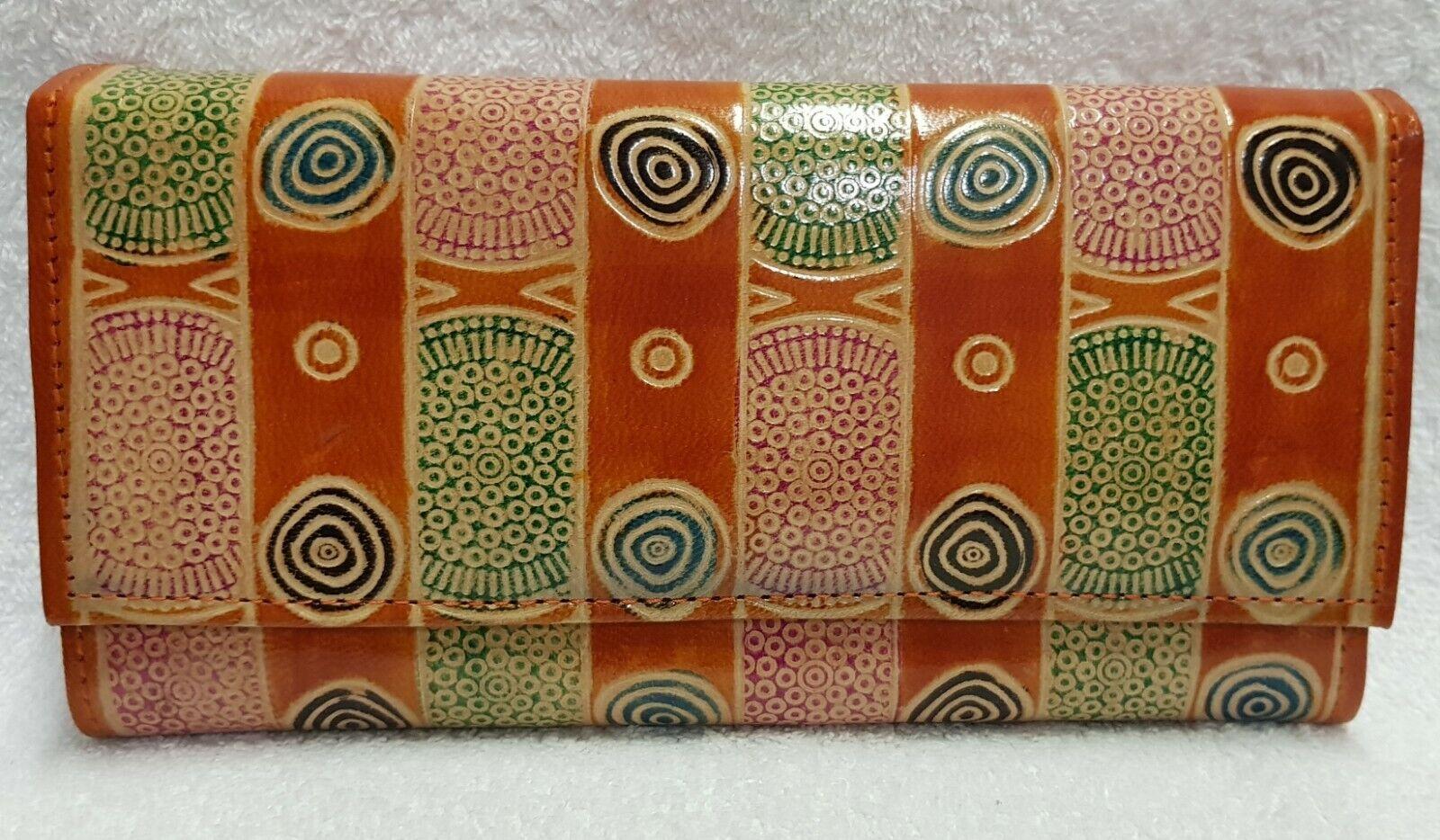 Leather genuine Hand Tooled Painted Shantiniketan Ethnic Boho Clutch/Wallet
