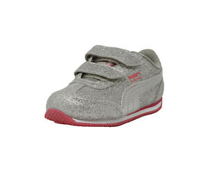 Details about PUMA Shoes Girls Whirlwind Glitz V Toddler Infant Baby Kids Silver Pink Sneaker