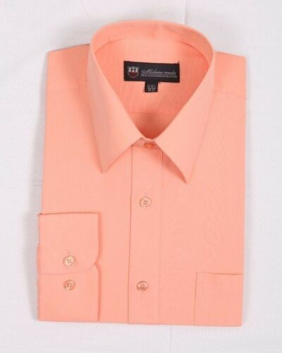 Men/'s Basic Solid Cotton Blend Dress Shirt #02 Classic Fit Multi Color