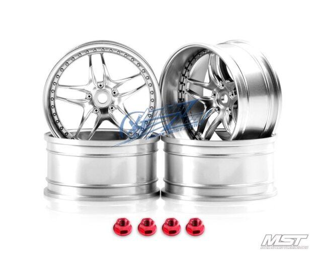 MST Flat silver FB 1/10 Drift Car Wheels offset 11 (4 PCS) 102062FS New