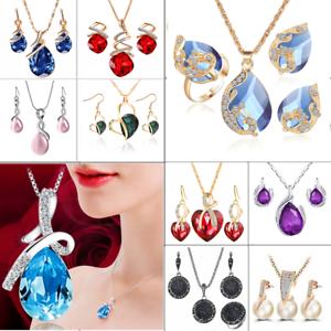 Women-Heart-Pendant-Choker-Chain-Crystal-Rhinestone-Necklace-Earring-Jewelry-Set