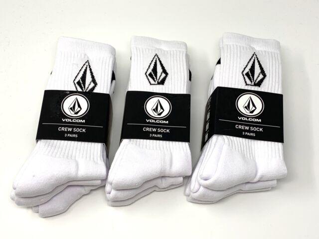9-Pack (3-Pack x3) Volcom Men's Skateboard Full Stone Socks White Size 9-12