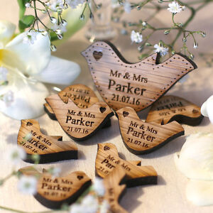 Personalised-Wooden-Mr-amp-Mrs-Love-Heart-Doves-Wedding-Table-Decoration-Favour