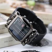 Unisex Square Style Cool Colorful Led Digital Watch Binary Wrist Black Au
