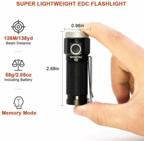 WOWTAC W1 Rechargeable EDC Flashlight with Magnetic Tailcap CW